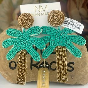 NEW Neiman Marcus Palm Tree Bead Statement Earring